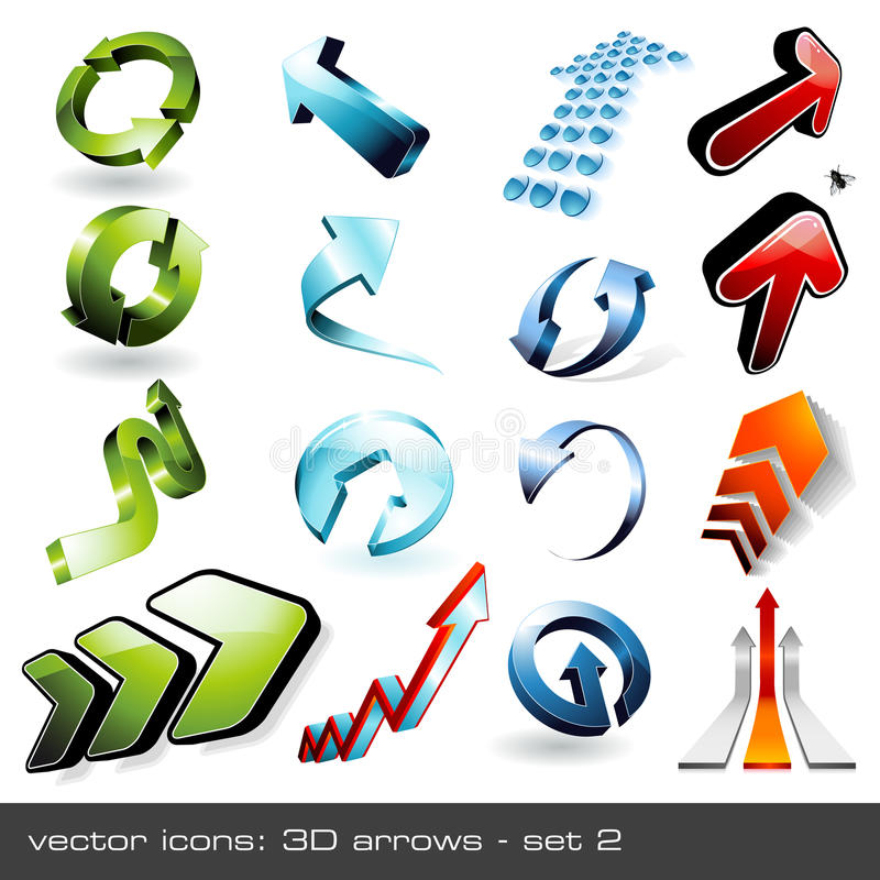 Free 3d Arrows - Set 2 Royalty Free Stock Images - 9666849