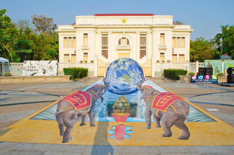3D Art on the Street (23rd March - 7th April 201. 2) in front of the Three Kings Monument, Chiangmai province, Thailand. Painting By famous artists from the royalty free stock photos