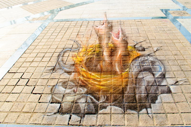 3D Art on the Street (23rd March - 7th April 201. 2) in front of the Three Kings Monument, Chiangmai province, Thailand. Painting By famous artists from the royalty free stock photo