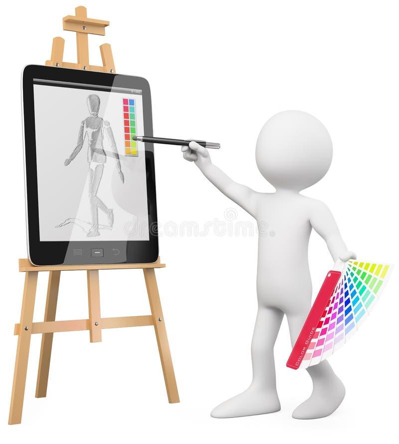 3D artista - pintura del artista en una PC de la tablilla stock de ilustración
