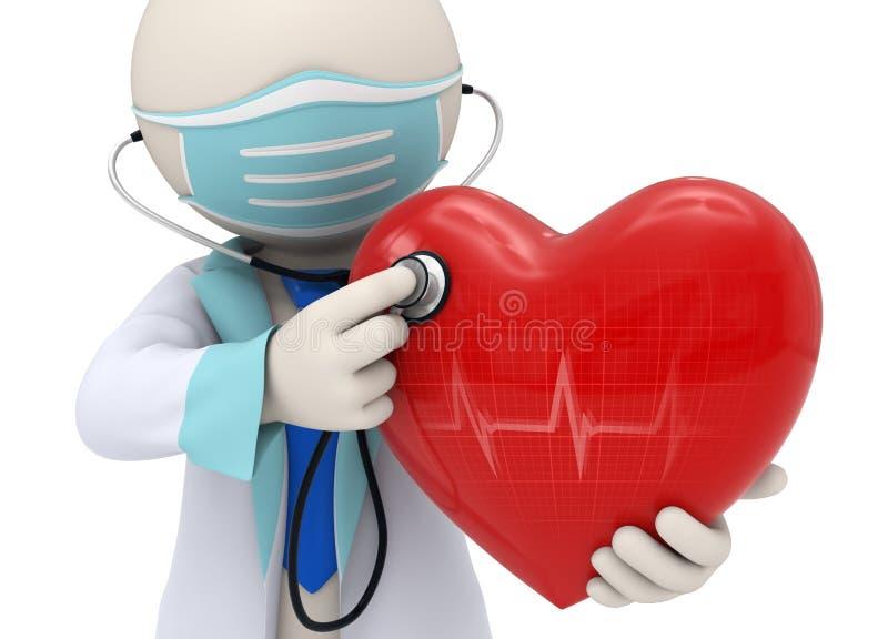 3d arts die een hart met een stethoscoop onderzoeken stock illustratie