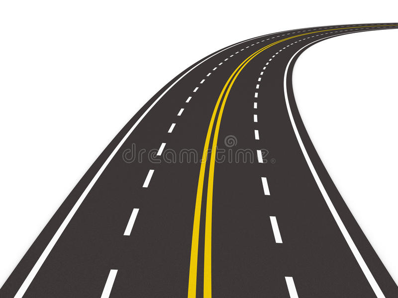 3d asfalterad isolerad vägwhite vektor illustrationer