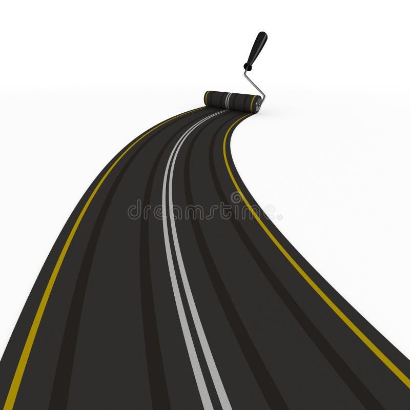 3d asfalterad isolerad vägwhite royaltyfri illustrationer
