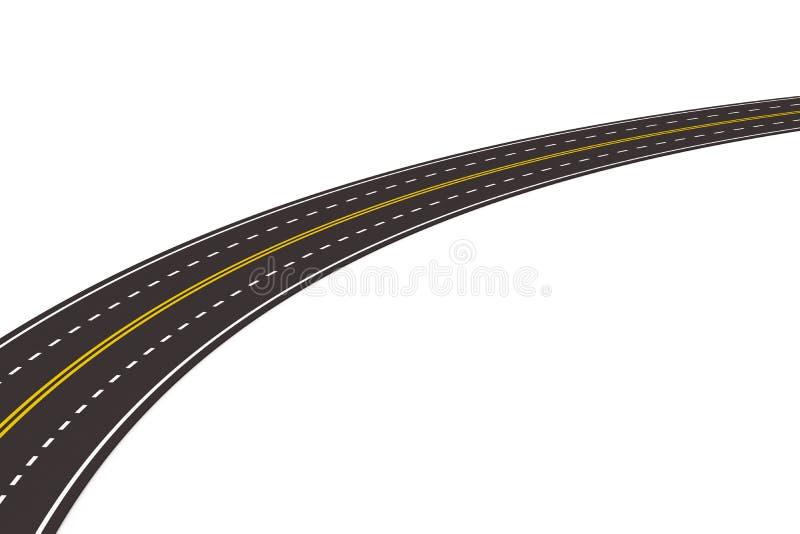 3d asfaltujący odosobniony drogowy biel royalty ilustracja