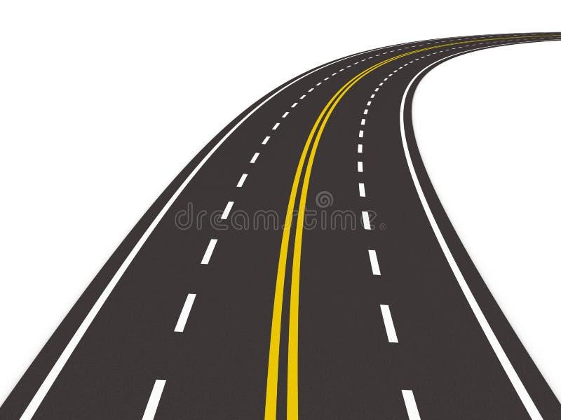 3d asfaltujący odosobniony drogowy biel ilustracja wektor