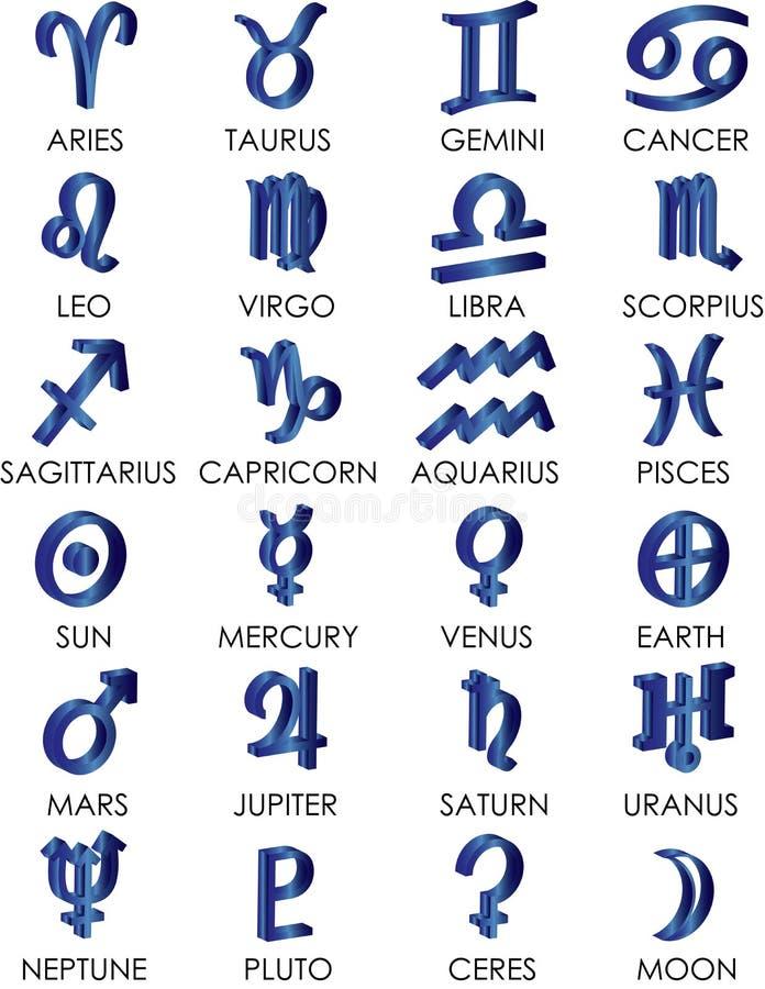 3D astrologie en de dierenriem zingen stock illustratie