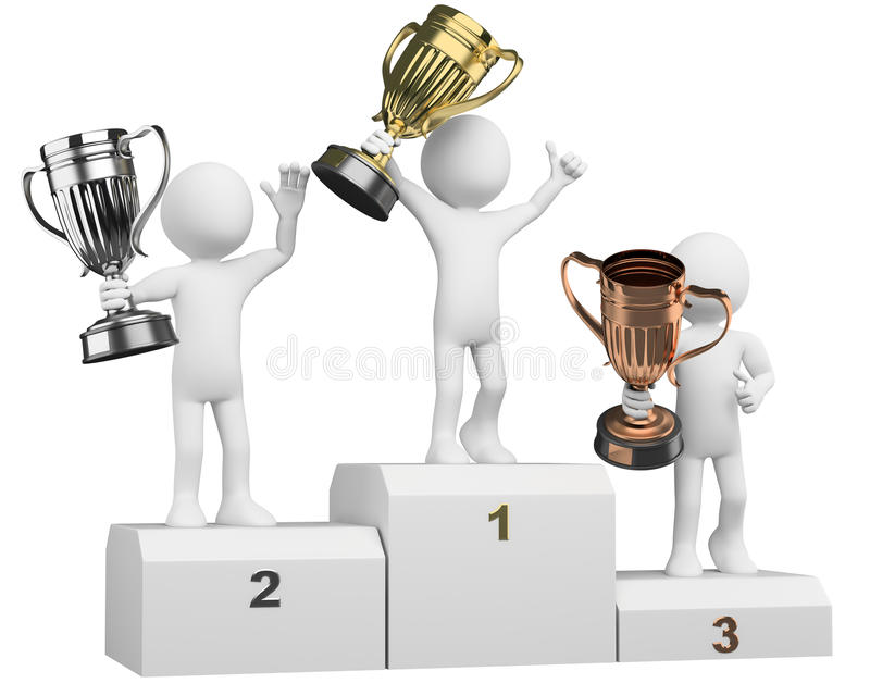 3D Athletes On The Podium Of Winners Stock Photo - Illustration of silver,  place: 23290706