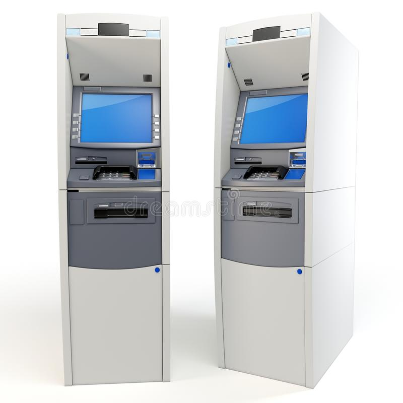 3d atm machines detailed royalty free illustration