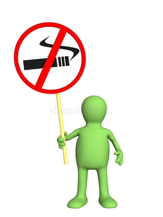 3d aucun symbole de fumée de marionnette illustration libre de droits