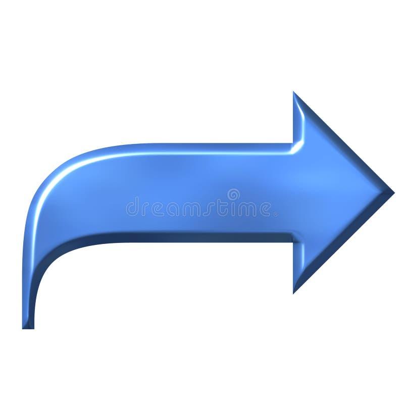 3D Azure Arrow. Isolated in white stock illustration