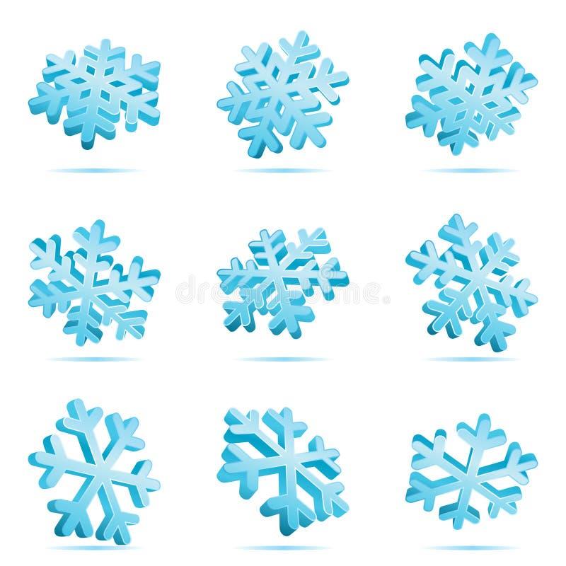 3d błękit płatek śniegu ilustracja wektor