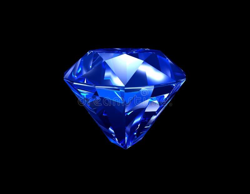 3d błękitny diamentowy szafir royalty ilustracja