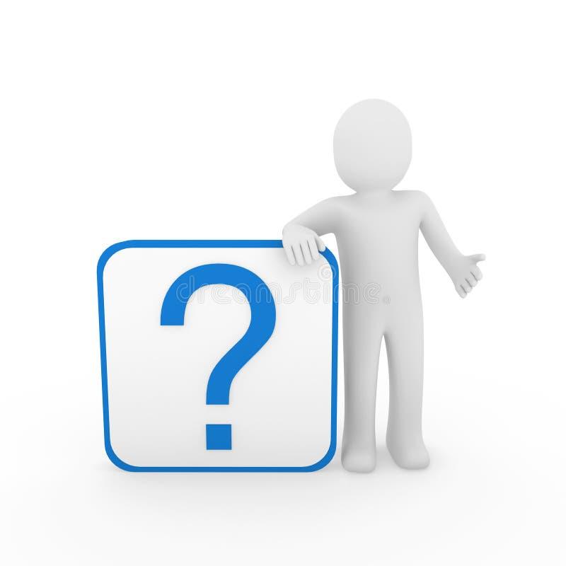 3d błękitny mężczyzna oceny pytanie ilustracji