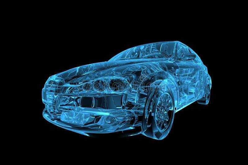 3d błękitny samochodowy xray royalty ilustracja