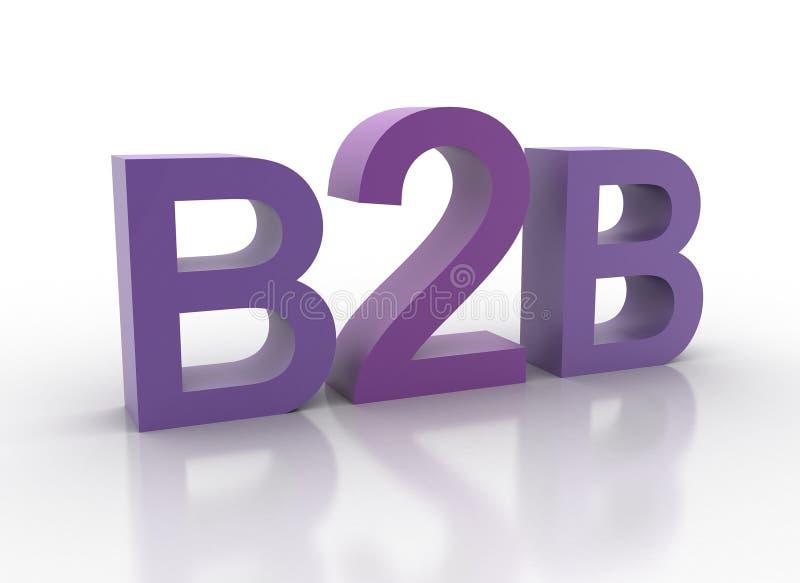 3d b2b помечает буквами пурпуровое правописание стоковые изображения rf