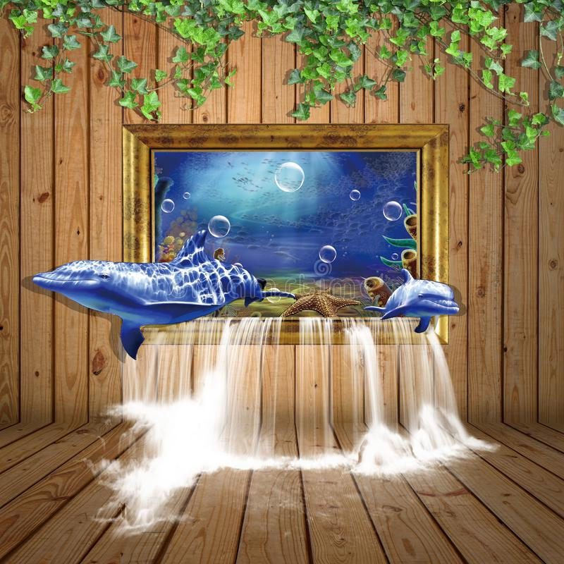 Free 3D BACKGROUND DOLPHIN WITH WOOD AND WATER FRAME Stock Image - 155027651