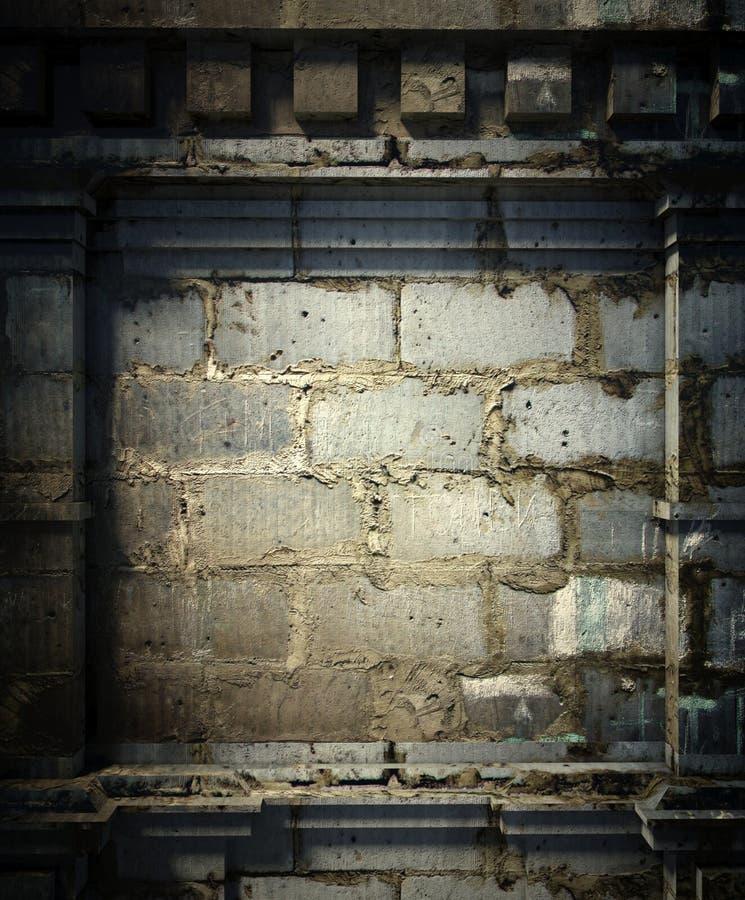 3d Backsteinmauer, antiker Architekturhintergrund lizenzfreie stockfotos