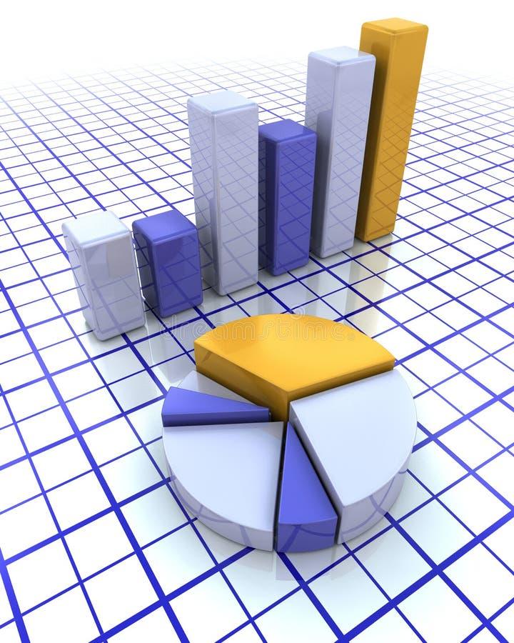 3D Balkendiagramm und Kreisdiagramm lizenzfreie abbildung