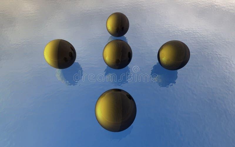 3D Ballen op het water vector illustratie