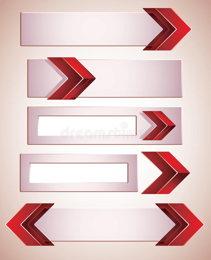 Download 3d Banners With Red Arrows. Stock Vector - Image: 26672123