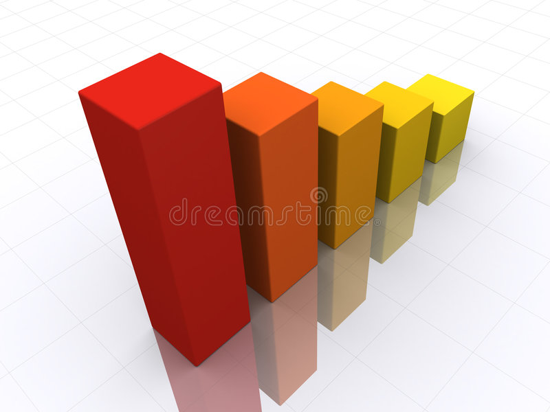3d Bar Chart. In perspective reflected on the ground royalty free illustration