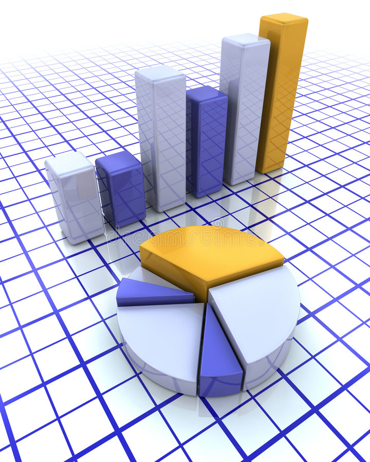 3D bar chart and pie chart royalty free illustration