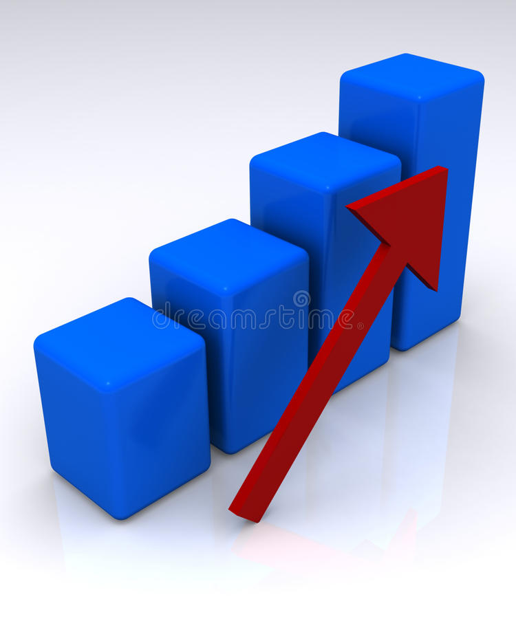 3D bar chart showing growth stock illustration