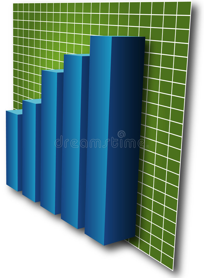 3d Barchart. Blue bars on green grid