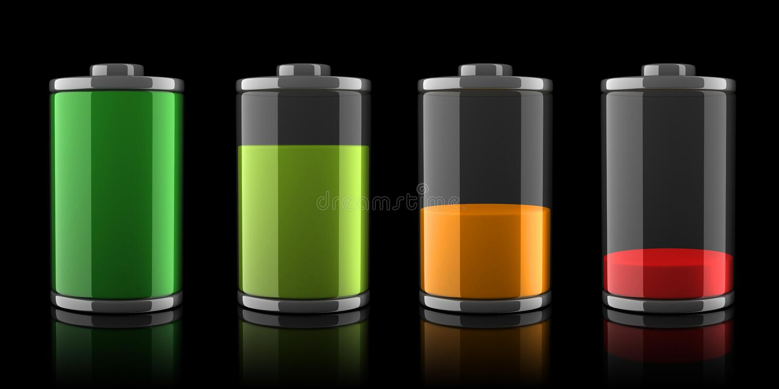 3d Battery icons with different charge levels stock illustration