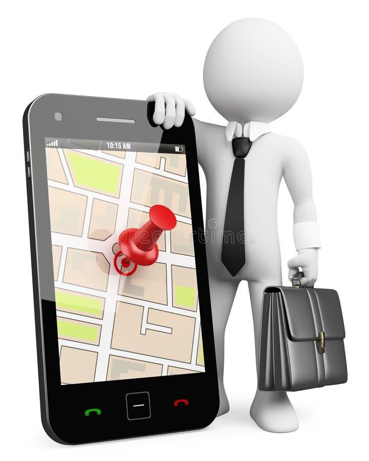 3D bedrijfs witte mensen. Mobiele telefoon met GPS royalty-vrije illustratie