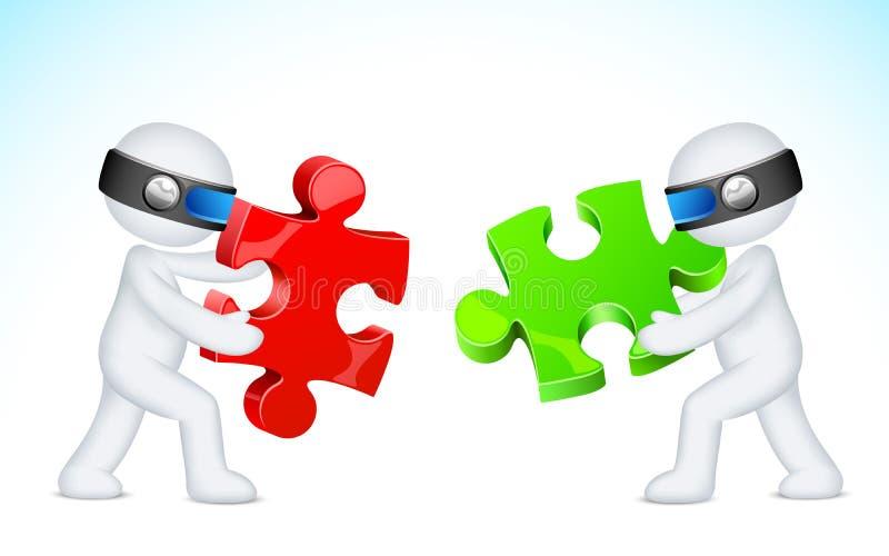 3d Bedrijfsmens die Raadsel oplost vector illustratie