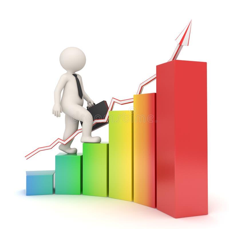 3d bedrijfsmens op financiële grafiek royalty-vrije illustratie