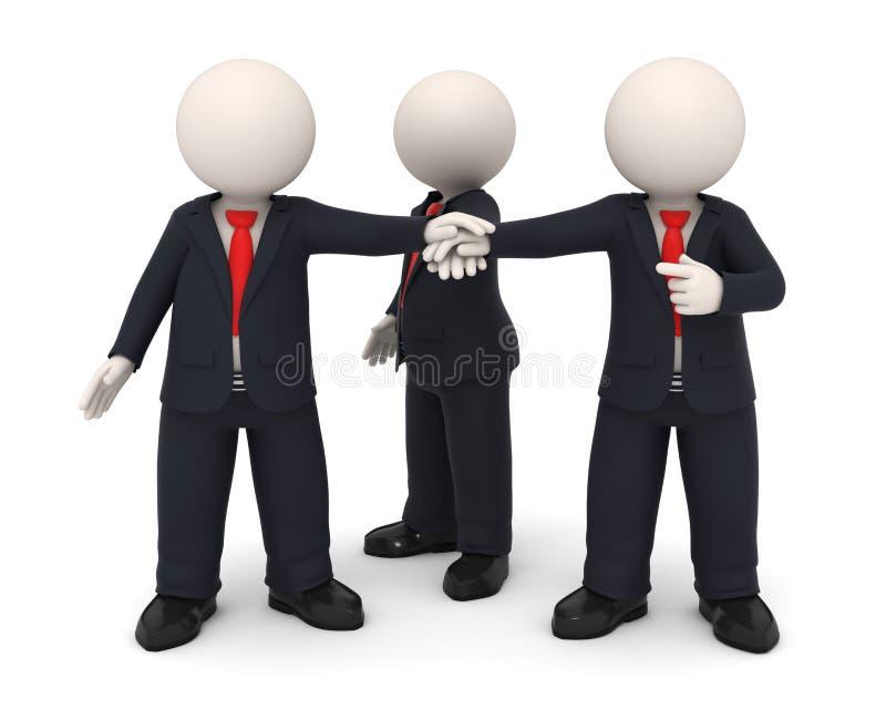 3d bedrijfsmensen overhandigen samen verenigd als team stock illustratie