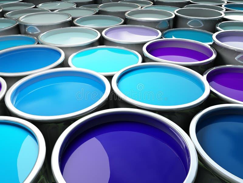 3d beeld van verschillende de tankachtergrond van het kleurenmetaal stock illustratie