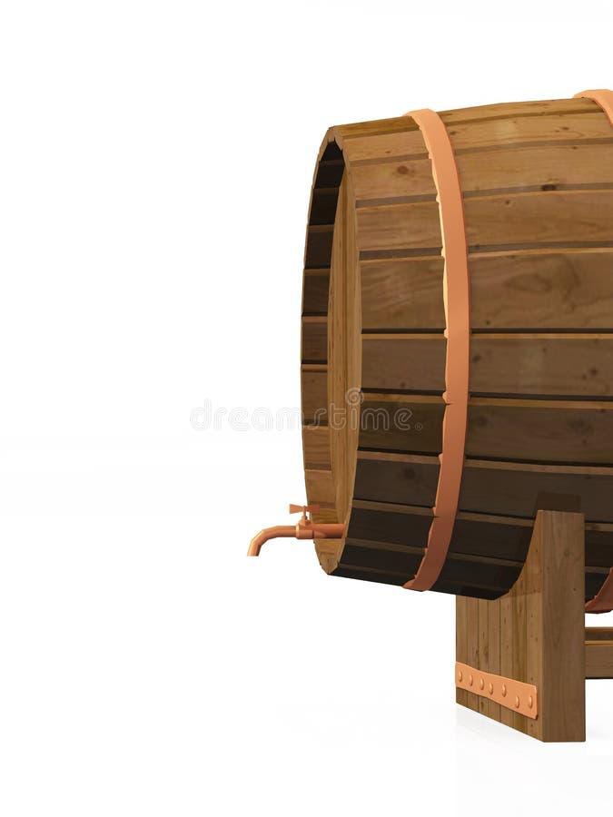 3D beer barrel 13. A beer barrel on white background stock illustration