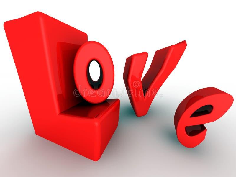 3D bezeichnet Rechtschreibung Liebe mit Buchstaben lizenzfreie abbildung