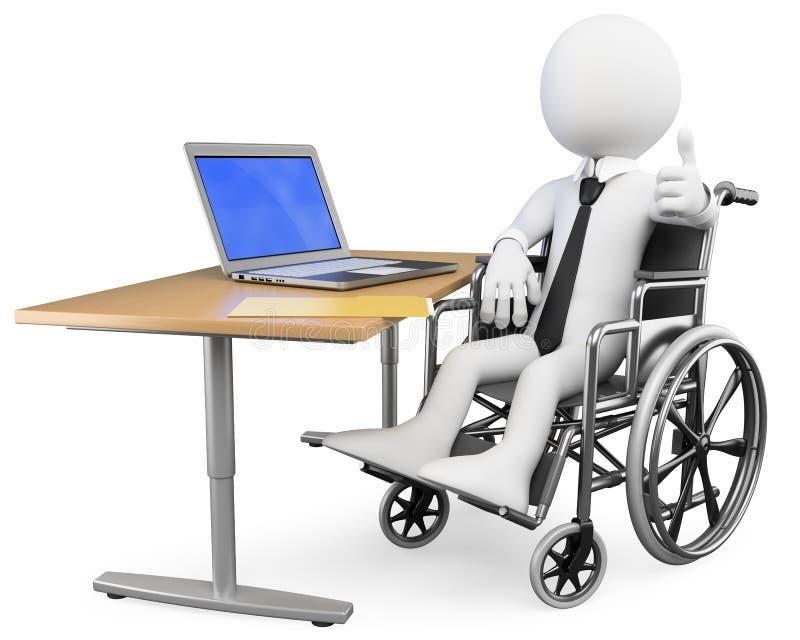 3D biały biznesmenów ludzie. Niepełnosprawny pracownik ilustracji
