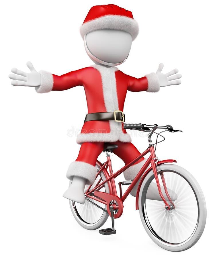 3D biały ludzie. Święty Mikołaj na rowerze royalty ilustracja