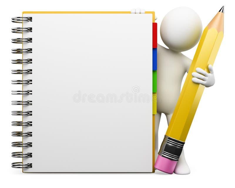 3d biały notepad ludzie ilustracja wektor