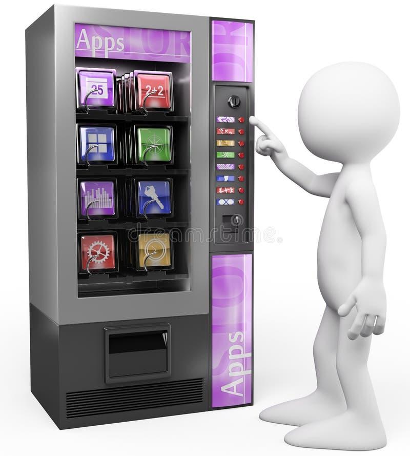 3D biali ludzie. Apps automat royalty ilustracja