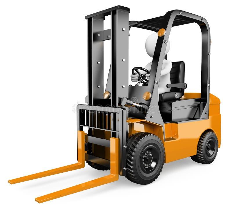 3D biali ludzie. Forklift royalty ilustracja