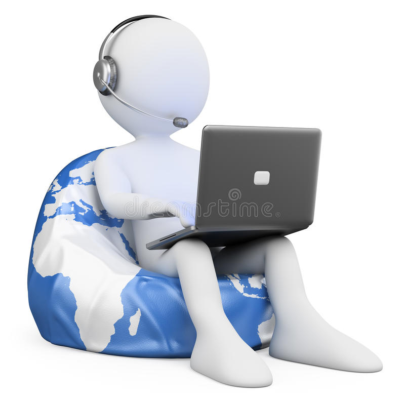 3D biali ludzie. Internetowy wyszukiwać ilustracji
