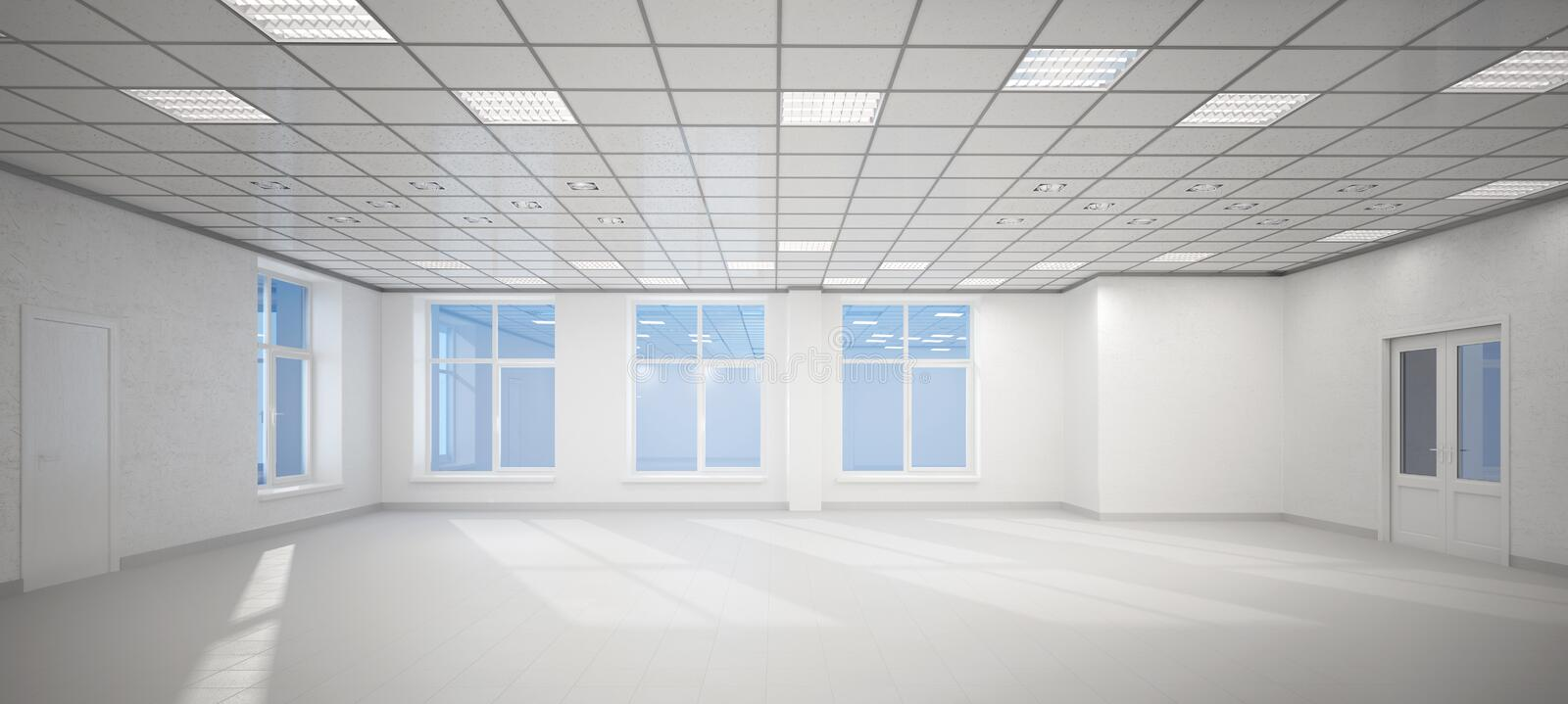 3D big empty white office stock illustration