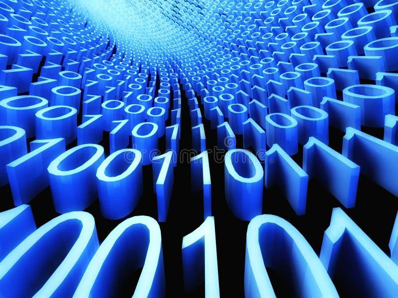 3d Binaire stroom, stroom van informatie royalty-vrije illustratie