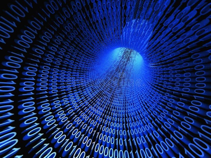3d Binaire stroom, stroom van informatie stock illustratie