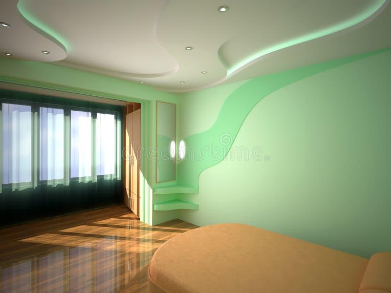 3D binnenlandse slaapkamer stock illustratie