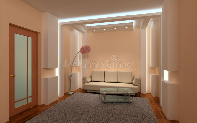 3D binnenlandse zitkamer.