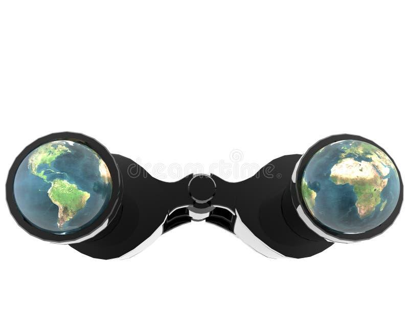 3d binocular with earth vector illustration