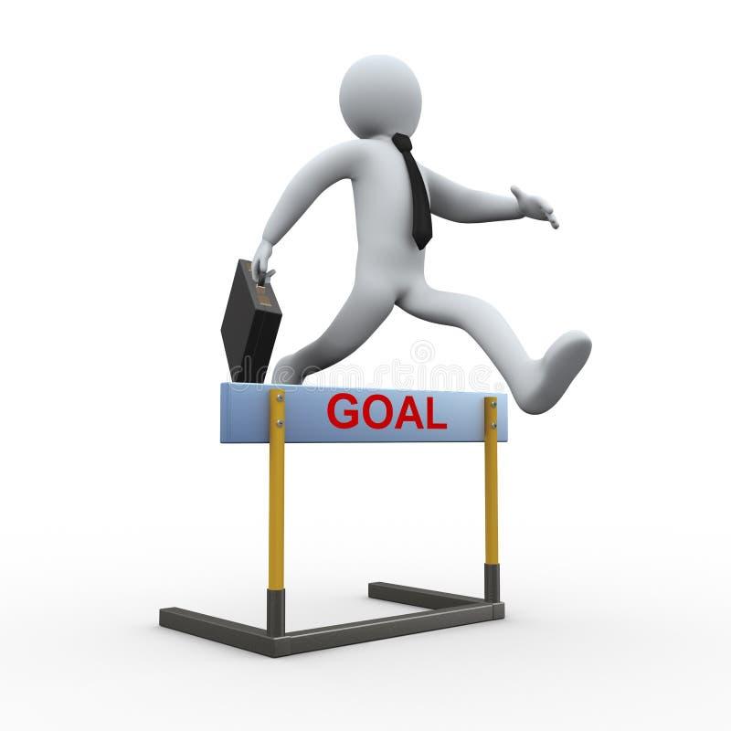 3d biznesmena przeszkody skok - cel ilustracji
