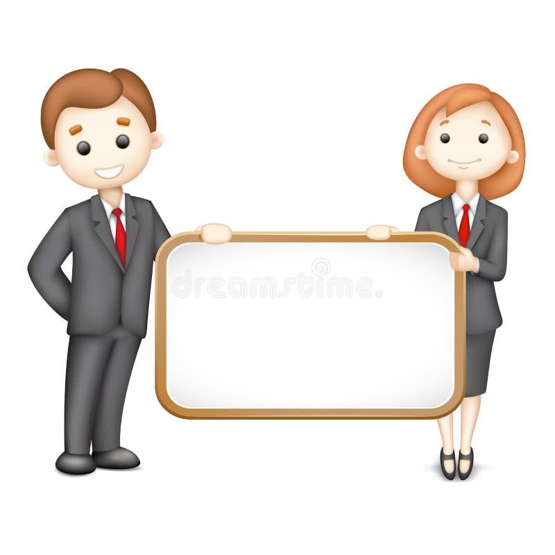 3d biznesowego mężczyzna wektoru kobieta ilustracji